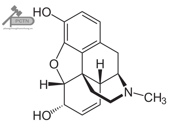 Công thức cấu tạo morphine.