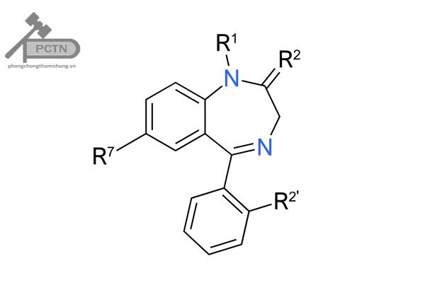 Công thức cấu tạo tổng quát của các thuốc Benzodiazepines.
