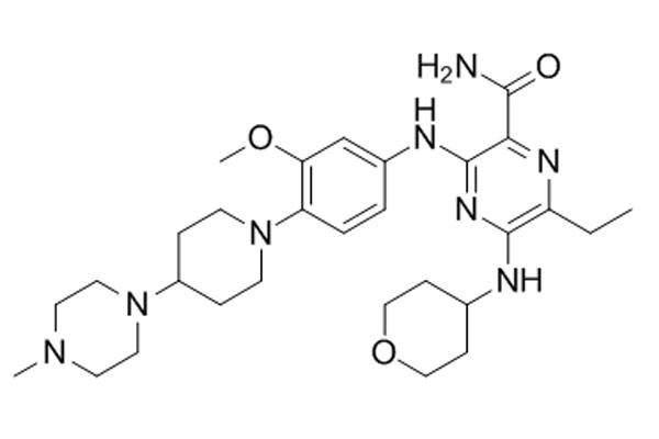 Công thức cấu tạo phân tử Gilteritinib.