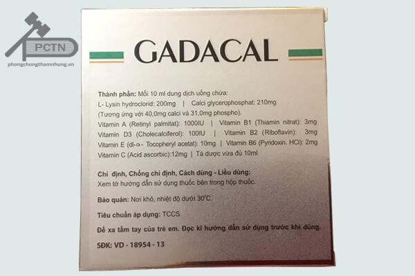 Thành phần của thuốc gadacal
