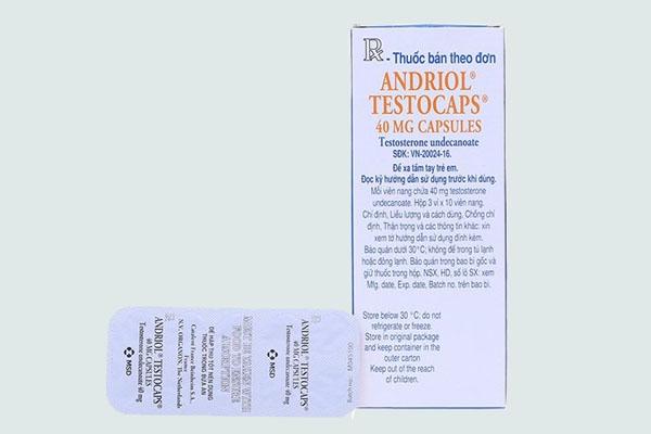 Hộp và vỉ thuốc Andriol testocaps