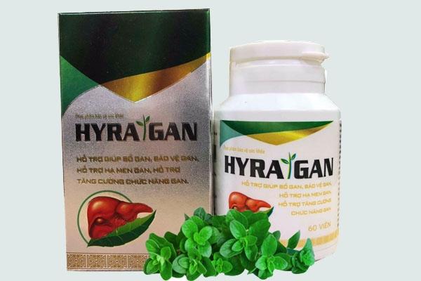 Vỏ hộp và lọ thuốc Hyra Gan