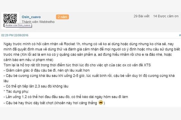 Review sản phẩm rocket 1h trên webtretho