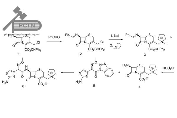 Sơ đồ bán tổng hợp cefepim đi từ khung 7-ACA từ các cephalosporin khác.
