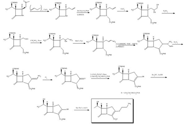 Sơ đồ tổng hợp imipenem, đi từ khung β-lactam.