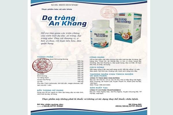 Chứng nhận Dạ Tràng An Khang