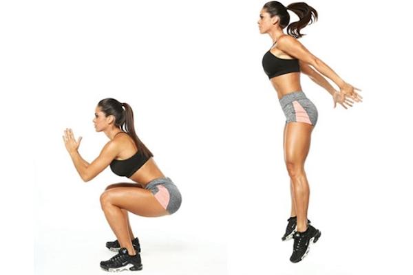 Động tác squat kết hợp với bật cao tại chỗ