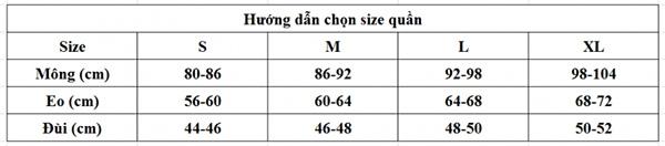Bảng chọn size quần lót nữ