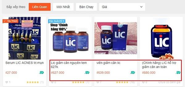 giá thuốc giảm cân Lic của Mỹ