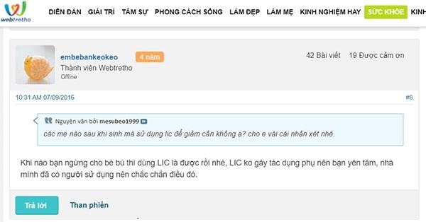 Review của khách hàng về thuốc giảm cân Lic trên webtretho