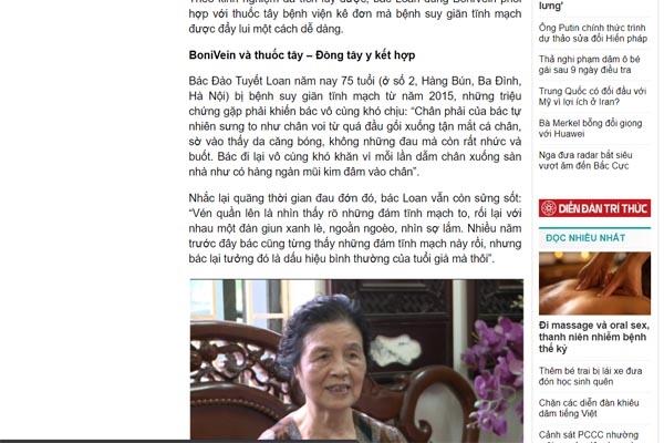 Review của khách hàng sử dụng Bonivein trên báo baodatviet.vn