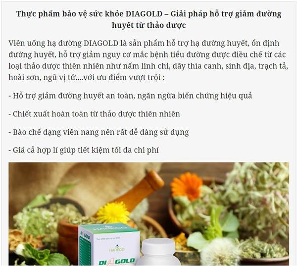 Báo Sức Khỏe và Đời Sống review về sản phẩm Diagold