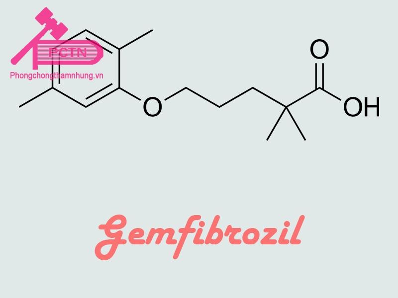 Công thức hóa học của Gemfibrozil, một chất gây tương tác với thuốc Astmodil